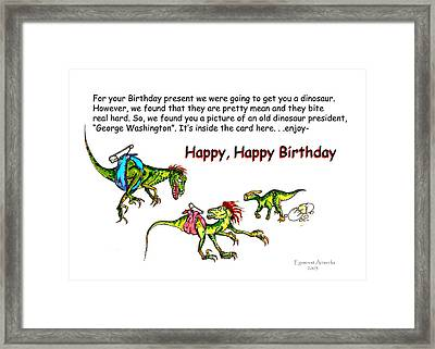 Dinosaur Kids Birthday Framed Print