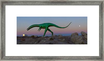 Dinosaur Loose On Route 66 2 Panoramic Framed Print by Mike McGlothlen