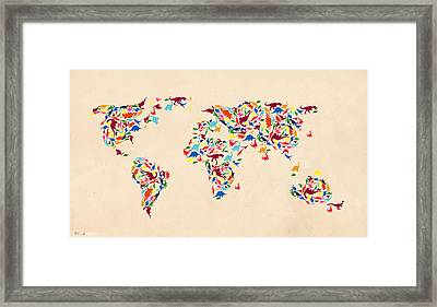 Dinosaur Map Of The World  Framed Print