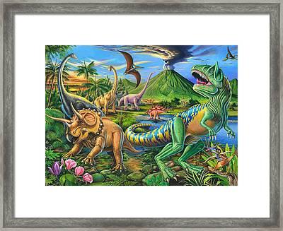 Dinosaur Scene Framed Print by Mark Gregory
