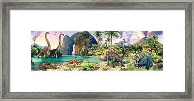 Dinosaur Volcanos Framed Print