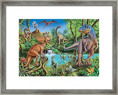 Dinosaur Waterfall Framed Print by Mark Gregory