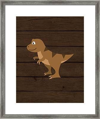 Dinosaur Wood Iv Framed Print