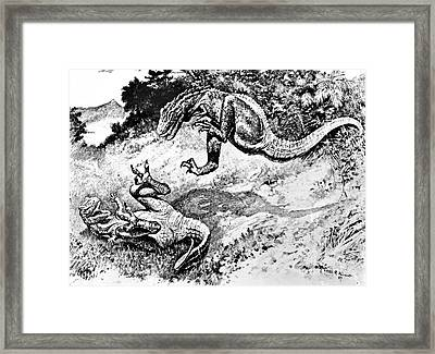 Dinosaurs Fighting Framed Print by Science Source