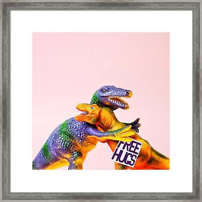 Dinosaurs Hugging Framed Print