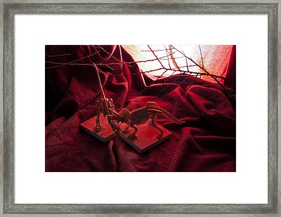 Dinosaurs In Fire Framed Print by Golden Section