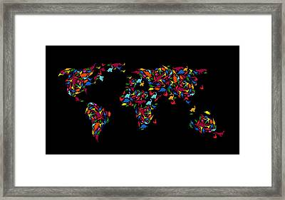 Dinosaurs Map Of The World   Framed Print