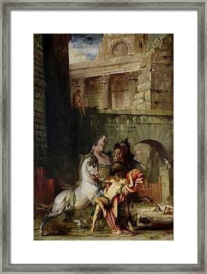 Diomedes Being Eaten By His Horses, 1865 Oil On Canvas Framed Print by Gustave Moreau