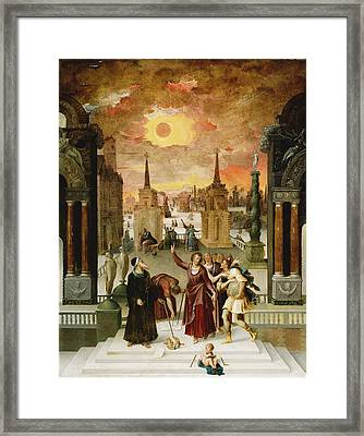 Dionysius The Areopagite Converting The Pagan Philosophers, 1570s Oil On Panel Framed Print by Antoine Caron