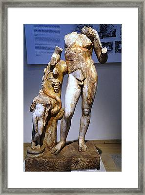Dionysos With Satyr Framed Print by Andonis Katanos