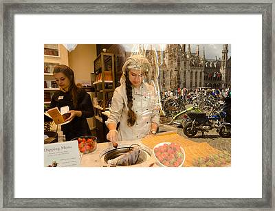 Dipping The Strawberry Framed Print