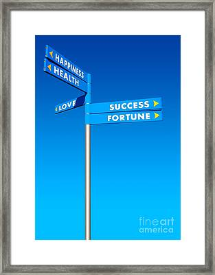 Directions To Goals Framed Print by Carlos Caetano
