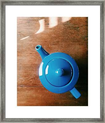 Directly Above Shot Of Teapot On Table Framed Print by Timothy Kirman / Eyeem