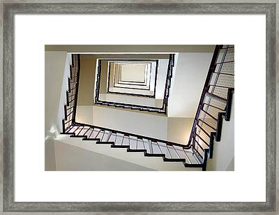 Directly Below Shot Of Spiral Staircase Framed Print by Joerg Fockenberg / Eyeem