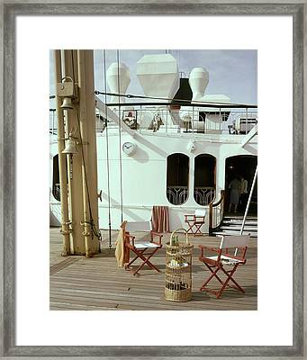 Directors Chairs In Front Of The Ship The Queen Framed Print by Tom Leonard
