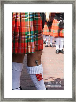 dirk in sock with kilt of scottish bagpipe player in Chichester  Framed Print by Peter Noyce