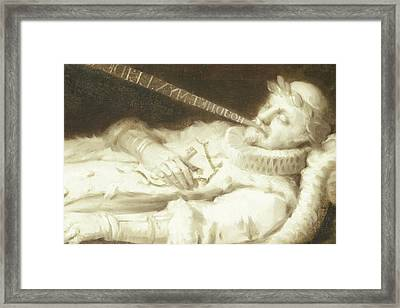Dirk Van Bronkhorst On His Deathbed During The Siege Framed Print by Litz Collection