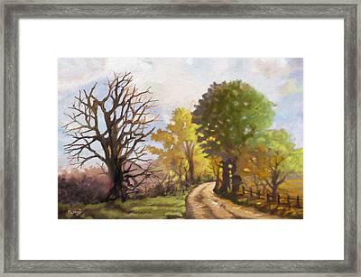 Framed Print featuring the painting Dirt Road To Some Place by Anthony Mwangi