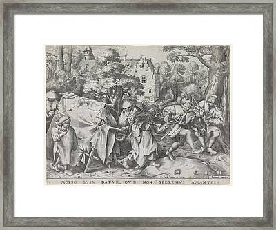 Dirty Bride Or Wedding Of Mopsus And Nisa Framed Print by Pieter Van Der Heyden And Hieronymus Cock