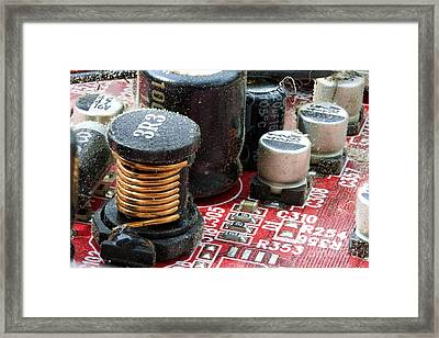 Dirty Electronic Circuit Board Close Up Framed Print by Simon Bratt Photography LRPS