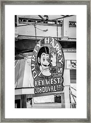 Dirty Harry's Key West - Black And White Framed Print by Ian Monk