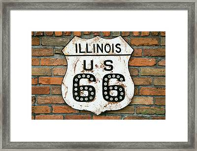 Dirty Illinois Route 66 Sign, Atlanta Framed Print by Julien Mcroberts