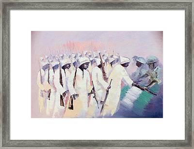 Framed Print featuring the painting Disarmament  by Oyoroko Ken ochuko