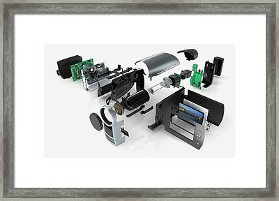 Disassembled Parts Of A Camcorder Framed Print by Dorling Kindersley/uig