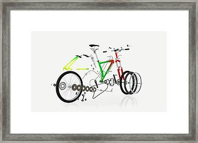Disassembled Parts Of A Mountain Bike Framed Print by Dorling Kindersley/uig