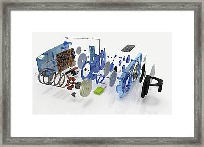 Disassembled Parts Of A Transistor Radio Framed Print