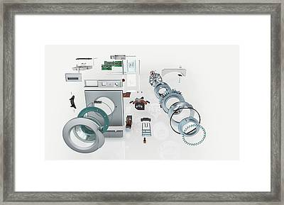 Disassembled Parts Of A Washing Machine Framed Print