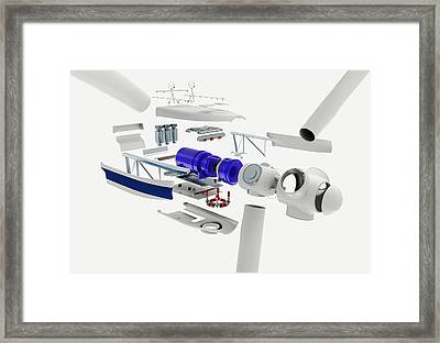 Disassembled Parts Of A Wind Turbine Framed Print by Dorling Kindersley/uig