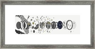 Disassembled Parts Of A Wristwatch Framed Print by Dorling Kindersley/uig