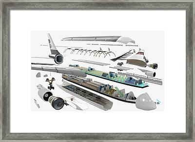 Disassembled Parts Of An Airbus Framed Print by Dorling Kindersley/uig