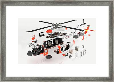 Disassembled Parts Of Military Helicopter Framed Print by Dorling Kindersley/uig