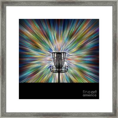 Disc Golf Basket Silhouette Framed Print