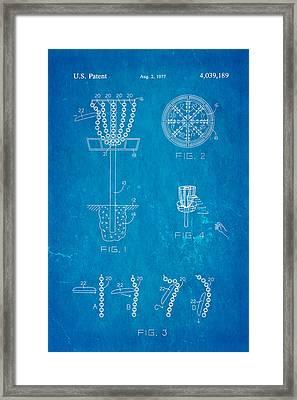 Disc Golf - Frisbee Golf Patent Art 1977 Blueprint Framed Print by Ian Monk