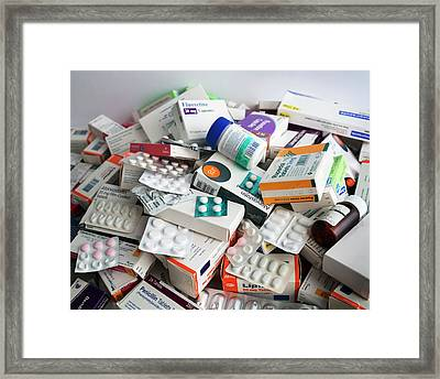Discarded Medication Framed Print