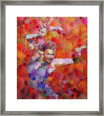 Disco Girl Contemporary  Framed Print by Georgiana Romanovna
