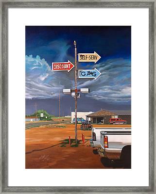 Discount Self-serv Gas Framed Print by Karl Melton