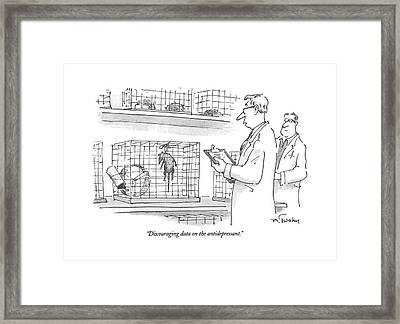 Discouraging Data On The Antidepressant Framed Print by Mike Twohy