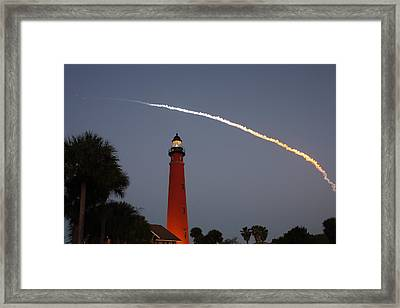 Discovery Booster Separation Over Ponce Inlet Lighthouse Framed Print by Paul Rebmann