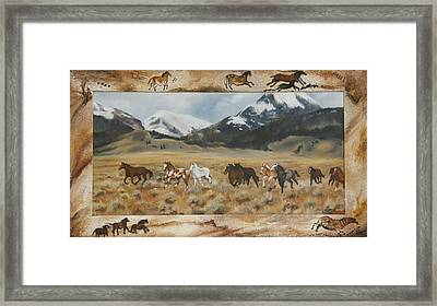 Framed Print featuring the painting Discovery Horses Framed by Lori Brackett