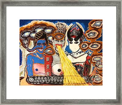 Discovery Of The Great Intergalactic Siamese Triplets Three Years Too Late Framed Print by Mack Galixtar