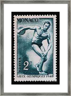 Discus Vintage Postage Stamp Print Framed Print