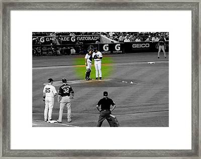 Discussing Strategy Pettitte And Posada Highlighted Framed Print