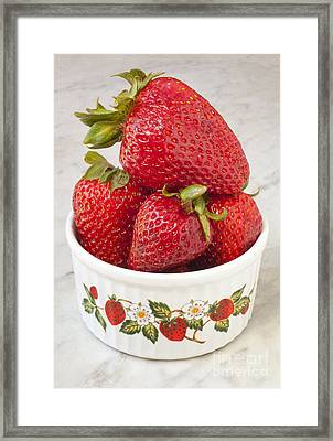 Dish Of Strawberries  Framed Print by Jonathan Welch