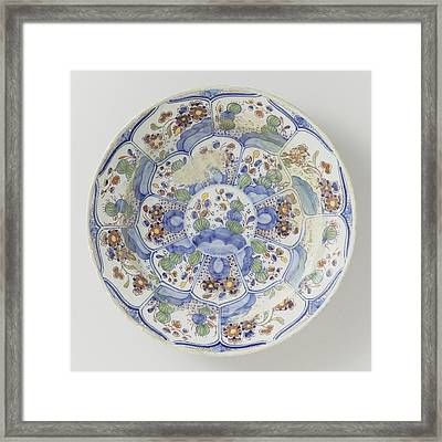 Dish Polychrome Painted Faience, De Porceleijne Schotel Framed Print by Quint Lox