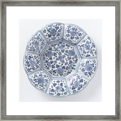 Dish With Edge Of Blue Painted Faience, Anonymous Framed Print by Quint Lox
