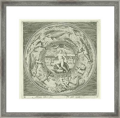 Dish With Sea Goddess Galatea Adriaen Collaert Framed Print by Adriaen Collaert And Philips Galle